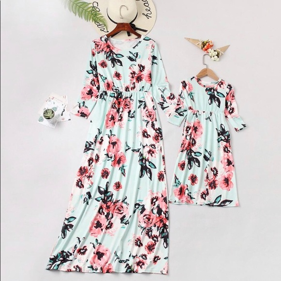 11f2a3278 Mommy & Me Mint floral maxi dress. M_5bb9340c6a0bb702a675b2ba